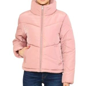 New pink puffer winter coat size large